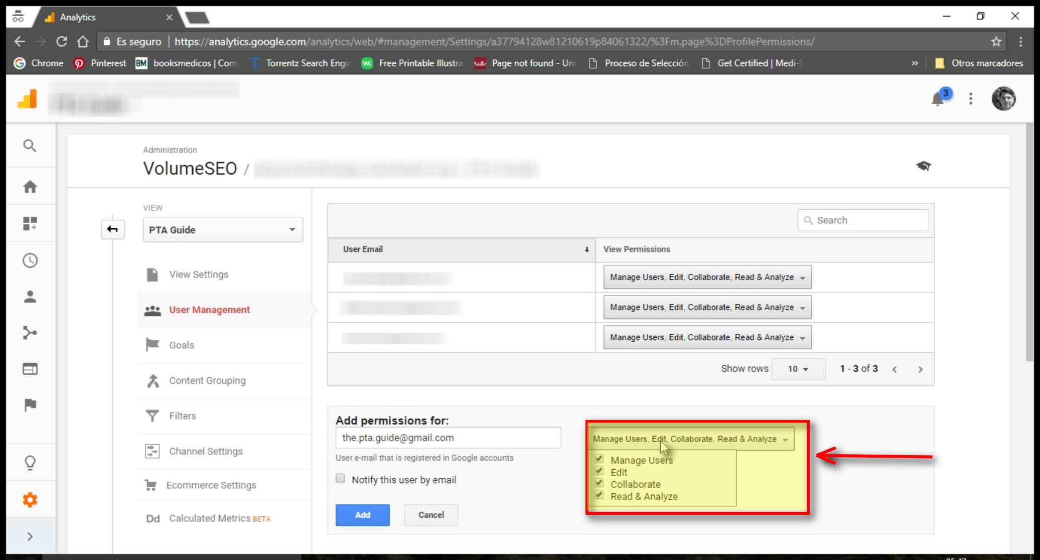 Select permissions when you add user to google analytics