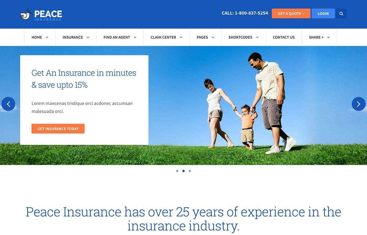 The Peace WP Theme is good for designing Insurance Websites